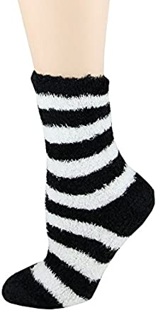 Soft and Warm Microfiber Fuzzy Socks-One Size,Black/White Wide Stripe