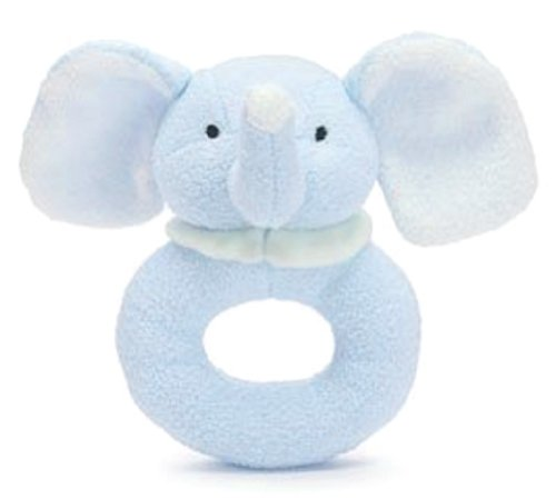 Blue Elephant Plush Easy Grip Ring Rattle with Floppy Ears - 1