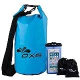 OXA Waterproof Dry Bag 20L, Roll Top Closure Dry Sack with Dual Shoulder Strap, Durable Lightweight Premium Waterproof Dry Sack Bags for Kayaking Boating Rafting Swimming Fishing Snowboarding Blue