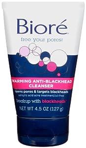 Biore Warming Anti-Blackhead Cleanser, 4.5 Ounce