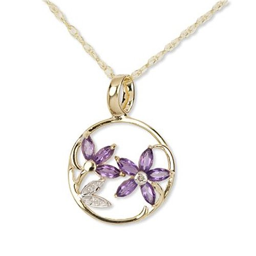 9ct Yellow Gold Diamond and Amethyst Flower Pendant with 46cm Chain