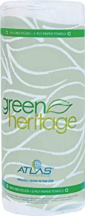 "Green Heritage 585 Kitchen Paper Towel Roll, 2-Ply, 9"" Width x 11"" Length, White (Pack of 30)"