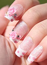 Polka Dot Rose French Tip 3D Press Stick on Nails Reusable (Pre-Glued)