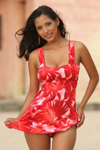 Red floral swimdress by UjENA