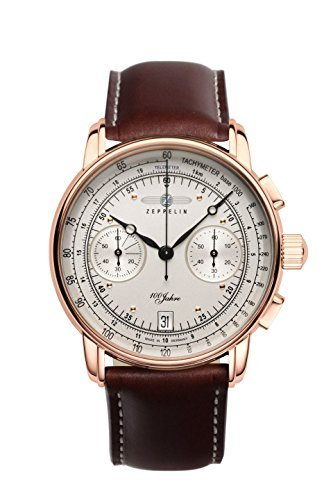 Zeppelin 100 Years Chronograph Men's Date Watch Rose Gold and Brown 7672-1