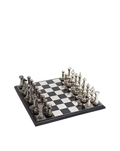 Metal/Wood Chess Set, Black
