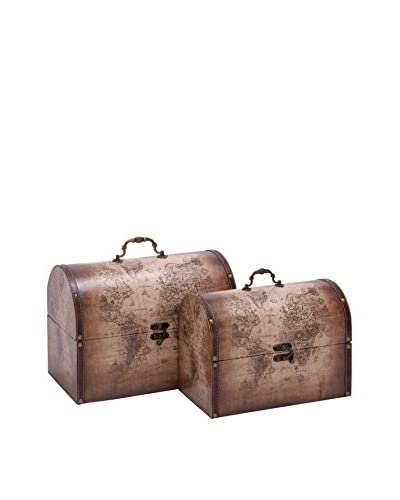 Set Of 2 Wood Leather Boxes, Brown