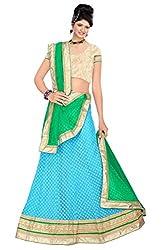 Pushty Fashion Sky Blue and Green net Embroidered Lehenga