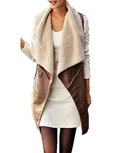 Minetom Donne Giacche di Pelle Senza Maniche Lunghe Faux Fur Pile Gilet Vest Coat ( Marrone IT 42 )