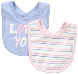 Pumpkin Patch Baby Girls 2 Pack Stripe and Love You Print Bibs, Vanilla, One Size