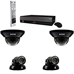 REVO America R44D2GT2G-5G 4-Channel 500GB DVR Surveillance System with 4 700TVL 100-Feet Night Vision Camera (Gray)