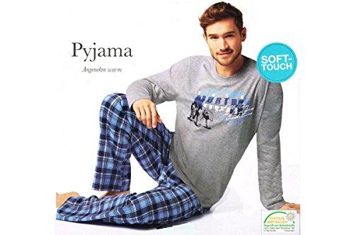 Herren Flanell Pyjama Schlafanzug Nachtwäsche Oberteil + Hose S M L XL XXL (XL 56/58, Grau)