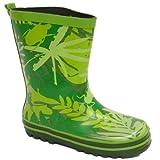 Kids Green Bug Girls Boys Rubber Rain Wellington Wellie School Boots
