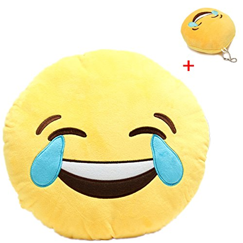 Lowest Price! KINGSO Smiley Emoticon Plush Pillow Round Cushion Toy(Buy 1 Get 1 Free Smiley Emoticon Key Chain Strap),Laugh to Tear