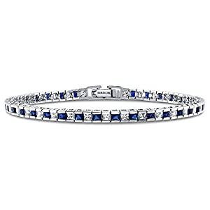 BERRICLE AAA Simulated Blue Sapphire Cubic Zirconia CZ Womens Wedding Bridal Fashion Tennis Bracelet