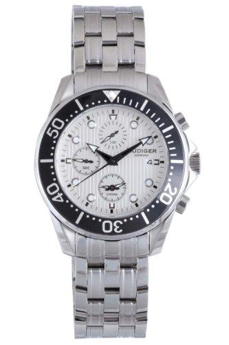 Rudiger Men's R2001-04-001 Chemnitz Black IP Rotating Bezel Silver Dial Chronograph Watch