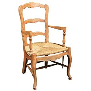 French Country Ladderback Arm Chair Set Of 2