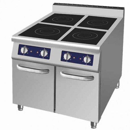 plan de cuisson à induction sur soubassement fermé, 4 plaques