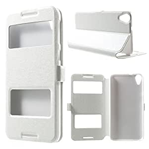 White Basic Easy View Leather Flip Cover for HTC 820