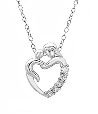 Journey Diamond Mother and Child Heart Pendant Necklace in Sterling Silver