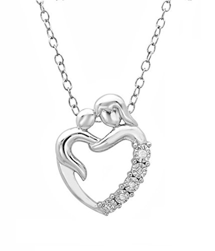 Mom and Baby Heart Sterling Silver Diamond Necklace