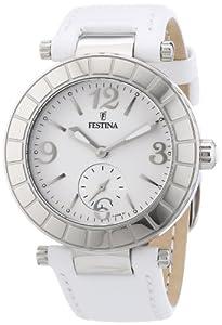 Festina - F16619/1 - Montre Femme - Quartz Analogique - Aiguilles Luminescentes - Bracelet Cuir Blanc