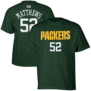 Clay Matthews Youth Green Bay Packers # 52 Primary Gear Player T-shirt
