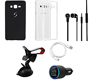 NIROSHA Cover Case Car Charger Headphone USB Cable Mobile Holder for Samsung Galaxy ON7 - Combo