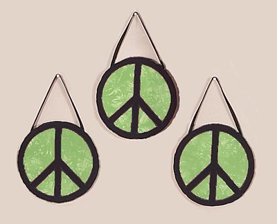 Lime Groovy Peace Sign Tie Dye Wall Hanging Accessories by JoJo Designs