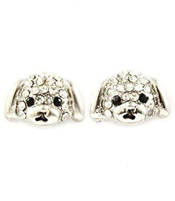 Silver Rhodium Plated Puppy Dog Stud Earrings Embellished with Sparkling Clear Crystals