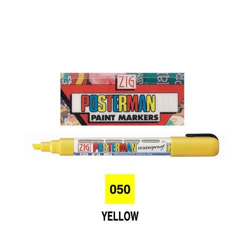 Zig Posterman All Weather Marker - 6mm Line Yellow. Narrow chisel point. Nib: 2 x 6mm.