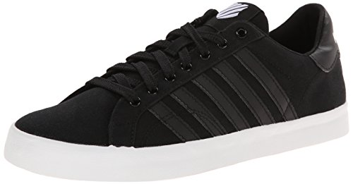 K-Swiss Women's Belmont Stitched On Textile Fashion Sneaker, Black/White, 8.5 M US