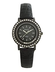 Ashley Metallic Black Shine Dial Black Leather Strap Analogue Watch For Girls -Ashley046