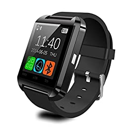 U-watch,Pandaoo® U8 Smart Watch Phone Mate with Sync/Bluetooth 4.0/Anti-lost Alarm for Apple iphone 4/4S/5/5C/5S Android Samsung S2/S3/S4/Note 2/Note 3 HTC Sony-Black