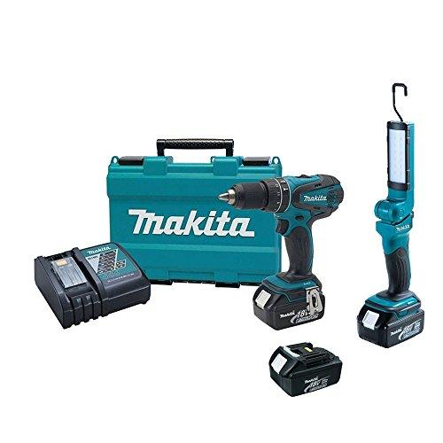 """Makita Xph012 18V 1/2"""" Hammer Drill Driver, Dml801X1 Flashlight, (2) Batteries"""