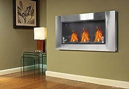 Ridgeyard Adjustable 54 Inch Bio Ethanol Fuel Recessed or Wall Mount Fireplace 4.5L Triple Burner Box Stove Real Ventless Firebox Insert