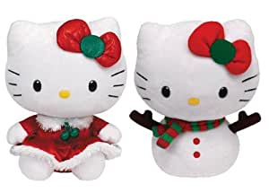 Ty Hello Kitty Red Dress and Snowgirl Holiday Set of 2 Plush Beanie Babies Toys