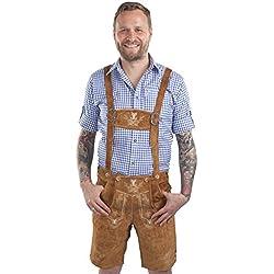 Herren Alpenjäger Trachten Lederhose kurz Trachtenlederhose braun Trachtenhose Oktoberfest Hose (52, hellbraun)