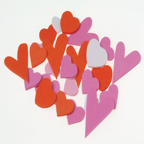 Lot Of 100 Assorted Valentines Heart Design Foam Stickers
