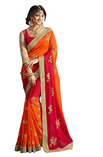 LAYROZ's Zari Embroidery Work With Lace Border Saree (196_Red)