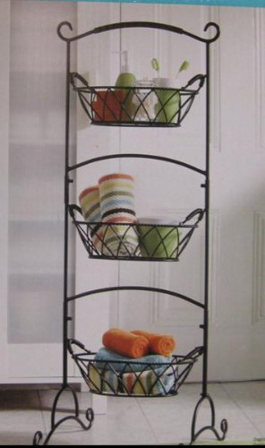 Tier wrought iron basket stand rustic finish for kitchen or bathroom