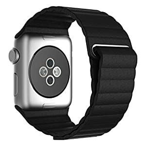 LSoug Apple Watch Band,42mm Genuine Leather Loop with Magnet Lock Strap Replacement Band for Apple Watch 42mm All Models No Buckle Needed - Black