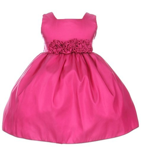 Sweet Kids Baby-Girls Slvless Dress Flw Waistband 18M Lg Fuchsia (Sk B3047) front-1055880