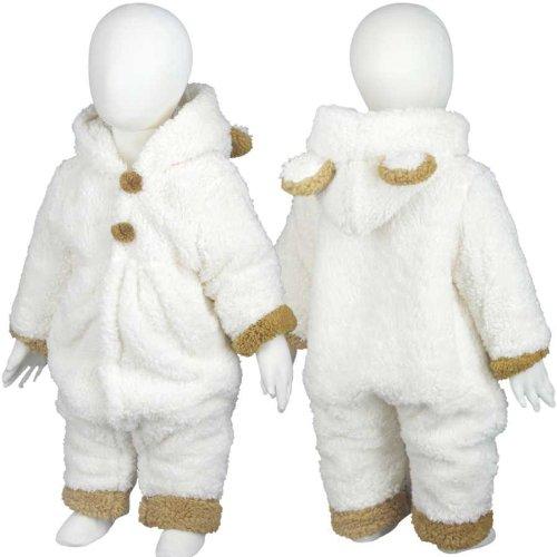 ベビージャンパー・コート[CROISSANCE BEBE]ベビー用シープボアカバーオール・着ぐるみ(ホワイト◇70)