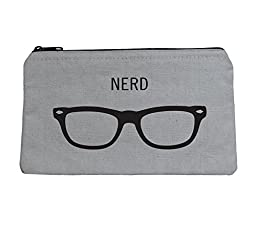Witty Canvas Zipper Pouch - So Many Uses Nerd Glasses