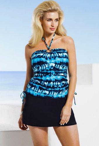 Michael Kors Plus Size Torini Tie Dye Shirred Bandini Women'S Swimsuit - Blue - Size:20