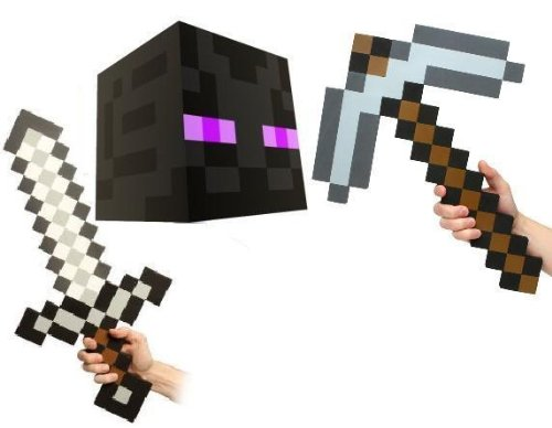 Official Minecraft Enderman Head with Foam Sword & Pickaxe Costume Set