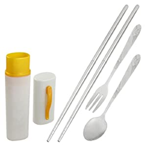 Travel Portable Stainless Steel Spoon Fork Chopsticks Tableware Set by uxcell