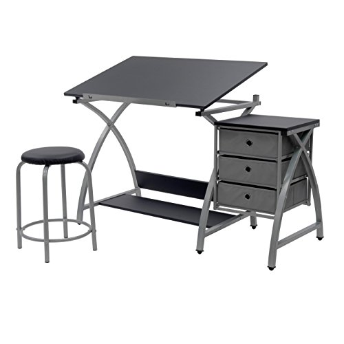 STUDIO DESIGNS Comet Center with Stool Silver / Black 13325 (Drafting Storage compare prices)