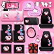 Hello Kitty Sanrio Hearts Design 14 Pieces Combo Set Front and Rear Rubber Floor Mats Seat Covers Steering Wheel Cover License Plate Frame CD Visor Organizer Windshield Sunshade Side Window Shades Key Chain and a Bonus 24 Pieces Capacity Durable CD Wallet